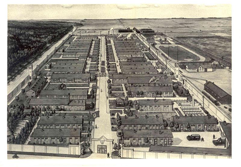 Postkarte (Zeichnung) des Strafgefangenenlagers Esterwegen Anfang der 1940er Jahre. Zeichner und Datum unbekannt. Stiftung Gedenkstätte Esterwegen