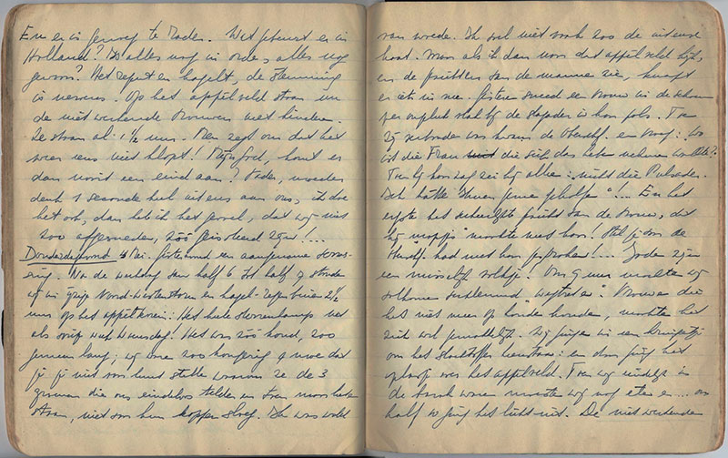 Tagebuch der als Jüdin verfolgten Niederländerin Renata Laqueur, verfasst im Konzentrationslager Bergen-Belsen, Eintrag vom 4. Mai 1944. Foto: Stiftung niedersächsische Gedenkstätten/Gedenkstätte Bergen-Belsen