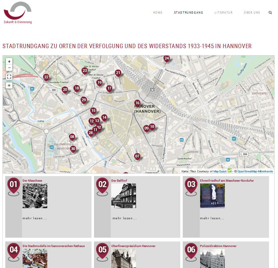 Stadtrundgang zu Orten der Verfolgung und des Widerstands 1933-1945 in Hannover, Screenshot: Michael Pechel