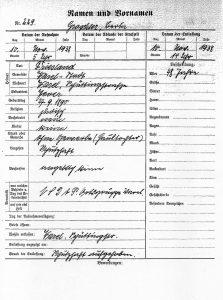 """Registrierblatt für Bertha Gröschler über die """"Schutzhaft"""" in der Pogromnacht im November 1938 im Polizeigefängnis Varel.(Niedersächsisches Landesarchiv Standort Oldenburg. Bestand 231-3, Nr. 224)"""