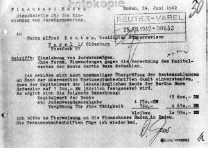 """Mitteilung des Finanzamtes Emden über die """"Einziehung von Judenvermögen"""" nach dem Tod von Bertha Gröschler (BADV, Rückerstattungsarchiv, Bestand OFD Hannover, O 5608 - R I / 652 - V 432, S. 3)"""