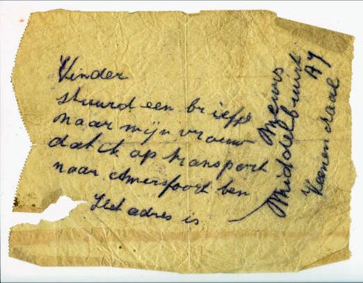 Einer der Briefe, die Willem Meurs aus dem Lager geschrieben hat. (Arbeitskreis Stadtgeschichte e.V.)