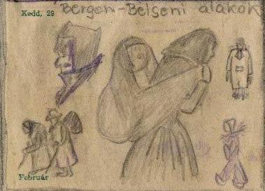 Zeichnung von Zsuzsa Merenyi (Sammlung Gedenkstätte Bergen-Belsen)