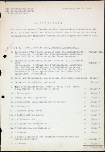 Karl Weiß zurückgelassene Vermögenswerte-web