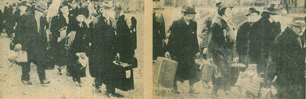 Die am 23. Oktober 1941 aus Emden deportierten Juden auf dem Weg zum Bahnhof (Stadtarchiv Emden, Ausschnitt aus einem Artikel der Ostfriesischen Tageszeitung vom 11.02.1942)
